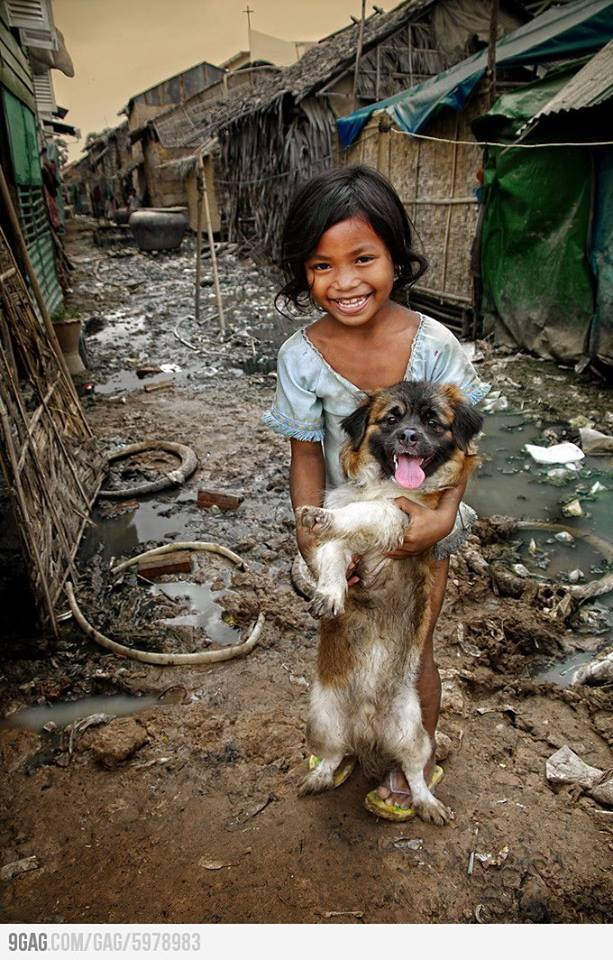 Asian girl with a dog
