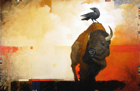 bison-buffalo-and-black-crow-art-and-design